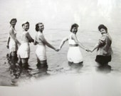 1940's era Vintage Real Photo - Pretty - Young Women - In the Water Holding Hands - BW