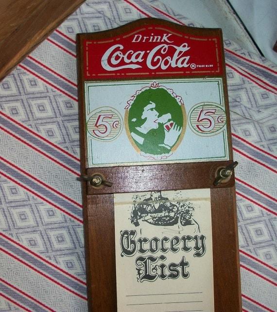 Coca Cola Kitchen Curtains: Vintage Coca Cola Wood Grocery List Memo Holder Kitchen Decor