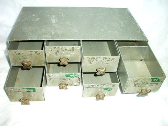 Vintage 8 Drawer Small Metal INDUSTRIAL Cabinet - Wonderful Pulls
