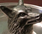 Pewter wolf head tray by International Pewter