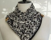 Neckwarmer Scarf in Black and White softest bamboo