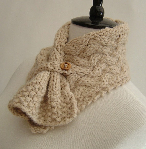 Neckwarmer Scarf with Basketweave Cables