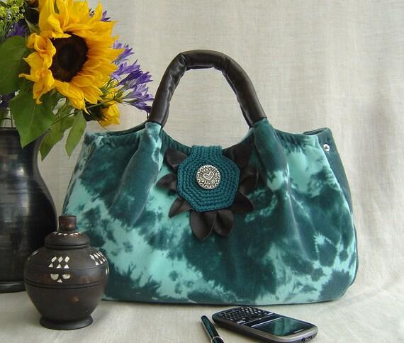 SPRING SALE Florence Handbag in Tiedyed Turquoise Velvet
