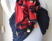navy blue red Turkish OYA scarf