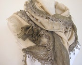 womens scarves camel brown linen with lace rose applique haute couture Handmade by Scarves2012 Turkish