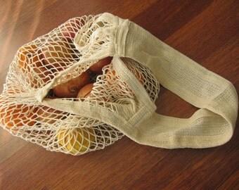 Natural cotton tote bag / carry shopping market bag- Turkish Anatolian crochet environment -user friendly- reusable