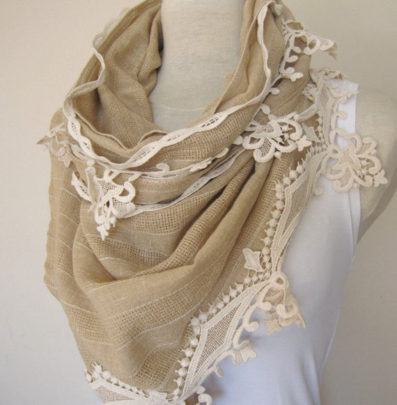 camel brown linen shawl scarf withcotton lace fringe haute couture Handmade Turkish womens scarves
