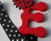 Bow holder ladybug red black white Letter E - can do all letters
