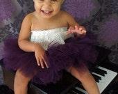Posh plum purple tutu baby tutu newborn tutu with matching cluster headband photography prop