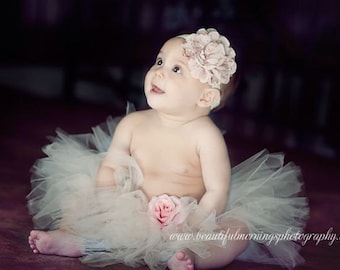 Flower Girl ivory tutu baby tutu newborn tutu photography prop with matching floral cluster headband Easter tutu
