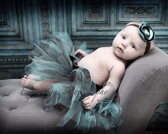 FREE SHIPPING this WEEK Teal and Brown Newborn tutu Set with Matching Silk Posie Pearl Headband Photography prop baby tutu