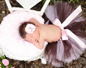 Posh Rhinestone Pale Pink and Brown Newborn tutu Newborn Photography Prop with Matching Satin Puff Rhinestone Headband