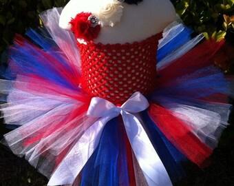 Miss America Fourth of July Tutu with matching triple rosette rhinestone headband