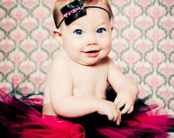READY TO SHIP Posh Couture Fushia and Black Boutique Tutu Part of the Posh Tiny Tots Tutu Collection Newborn Photo Prop