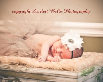 Grey Vintage Tutu set with matching fabric and lace vintage baby headband newborn photography prop