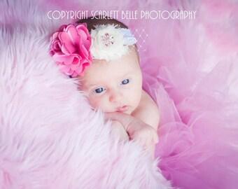 Elegant Vintage Rose Tutu Newborn Tutu with Matching Lace Satin Cluster Rhinestone Headband Newborn Photography Prop