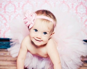 Baby Pink Tutu Set with Matching Baby Pink Chiffon Flower Headband Newborn Photography Prop Toddler Tutu Birthday tutu