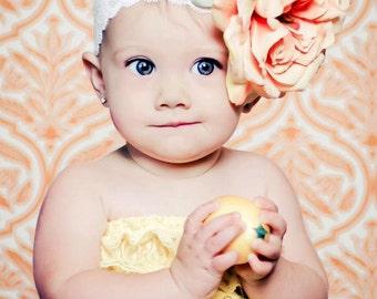 Baby Headband, Infant Headband, Flower Headband- Peach Oversized Peach Silk Flower Lace Headband Photography Prop Newborn Photography prop