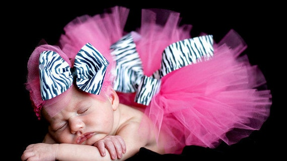 Zebra Print Hot Pink Tutu with Boutique Style Bow on a Crochet Headband Newborn-2t Newborn Photography Prop