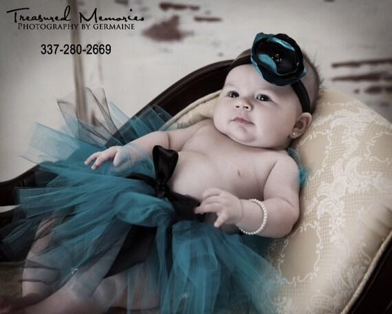 Teal and Black Tutu Set Newborn Photography Prop Newborn-5t with Matching Elastic Silk Posie Headband