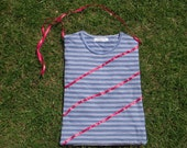 Recycled t shirt tote bag with ribbon applique