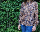 Psychedelic brown-tone vintage 60s/70s blouse with Peter Pan collar, size 12-16