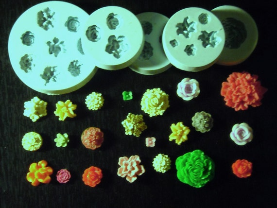 silicone molds kit (5)  cabochon flowers 22-cavities assortment flowers(8-42mm)
