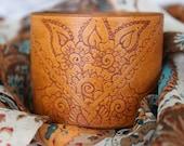 Hand Burned (Pyrography) Wide Tan Leather Cuff- Bracelet- Indie- Boho- OOAK- Moroccan- Art