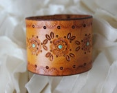 One of a Kind Handmade Tan and Teal Painted and Tooled Leather Wrist Cuff- Size Small- Boho- Country- Hippie
