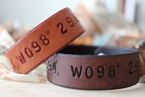 Two Your Text or Mine Leather Bracelets- His & Hers- Couples- Friendship- Latitude Longitude- Groomsmen Bridesmaid gifts- Made to Order
