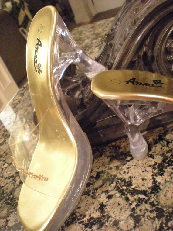 Vintage Clear and Metallic Gold  Platform Shoes Size 7.5 or 8  Party, Wedding, Prom Sandals