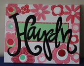 Girls Name painted on Canvas