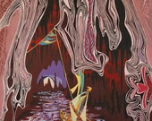 Original Abstract Art Painting Acrylic on Canvas Melancholic Cavern Cave Waterway with Boat Purple Red 32 x 26 1/2
