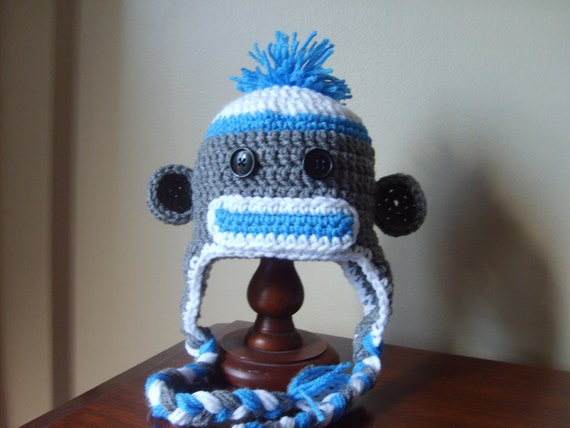 Made to Order Blue Sock Monkey Hat: newborn, 3 to 6 Months, 6 to 12 Months, 12 to 24 Months, 2T to 4T, Children, Adult