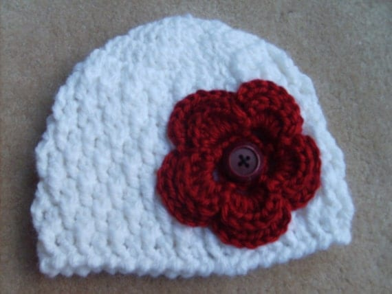 READY TO SHIP: Newborn White Beanie with Red Flower