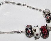 Price Reduction - Red, Black, White Glass and Rhinestone Bracelet