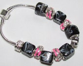 Now Priced Lower - Check it out -Pink and Black Glass and Metal Bead Bracelet