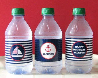 Nautical Birthday - Nautical Printable - Drink Wrap - first birthday - Printable Party - sail boat - Boy Birthday - Girl Birthday