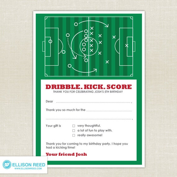 Items similar to Soccer Birthday Soccer thank you note – Free Printable Football Birthday Invitations