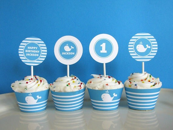 Whale birthday - First birthday - Cupcake Toppers - printable party - Printable Party Circles  - Printable Party Logos - DIY Printable