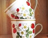 Vintage Sheffield Strawberries 'n Cream Stoneware Mugs