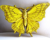 Vintage Yellow Butterfly Wall Decor