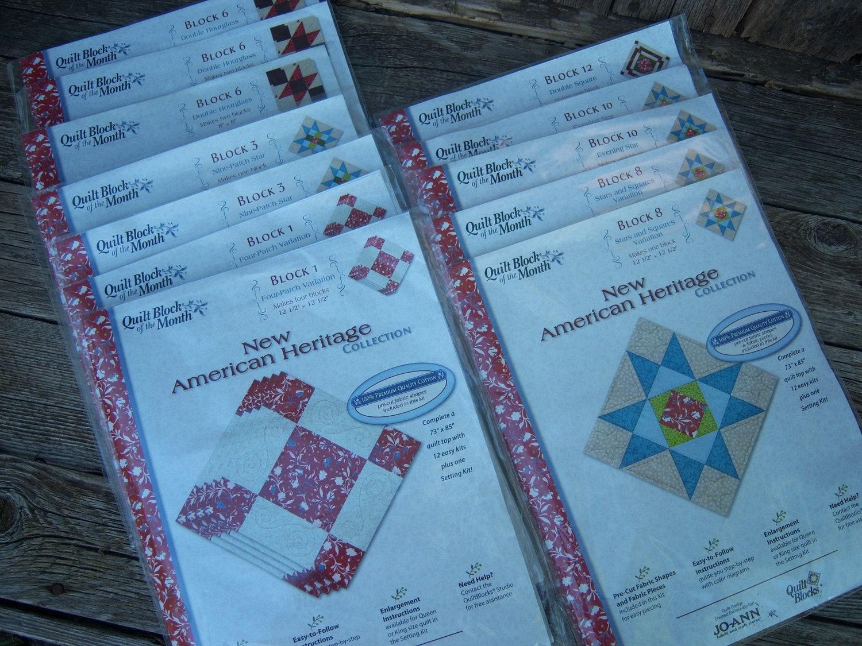 Joann Quilt Month New American Heritage Fabric 12 Kits Blocks