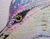 Wild Heron  / Hand painted original watercolour with liquid gold