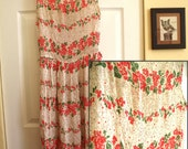 RESERVED: KatyKalemk -- Vintage Est. 1940's Semi-Sheer Floral Calf Length Dress with Double Scoop, Side Zip, and Buttoned Back