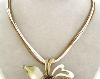 Cream & Tan Murano Glass Necklace Set