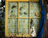 Chartreuse six pane window with floral fabric custom made jewelry holder-27 inx28 in