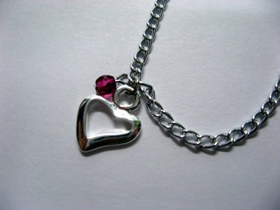 Open Heart Necklace with Fuschia Crystal Accent