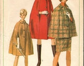 Vintage 1967 Simplicity Pattern 7262- Cape and Skirt -Pattern- Size 16