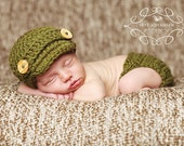 CROCHET PATTERN & Video Tutorial - Baby Newsboy Beanie and Diaper Cover Set - 5 sizes: newborn, 0-3 mo, 3-6 mo, 6-12 mo, 12-24 mo